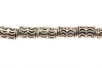 Pewter Big Hole Tube Beads ( Waves ) - 6x10mm