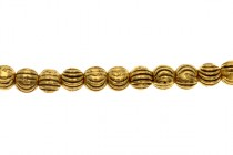 Gold Plated Round Beads - Curved Line Design