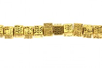 Gold Plate Over Pewter Big Hole Cube Beads - 5mm