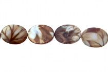 Brown Leaf Flat Oval Beads - 16x20mm