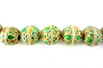 Enamel Green & Orange Beads - Round