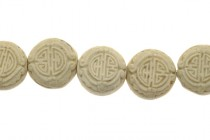 White Cinnabar (Imitation) Carved Coin Shaped Beads