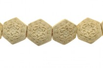 White Cinnabar (Imitation) Carved Flat Hexagon Beads