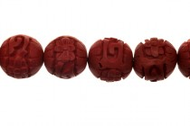 Red Cinnabar ( Imitation) Round Carved Beads, 15mm,CR-27