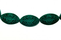 Green Cinnabar (Imitation) Flat Oval Beads with Carved Flowers