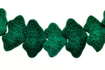 Green Cinnabar (Imitation) Abstract Shaped Beads with Intricate Carvings