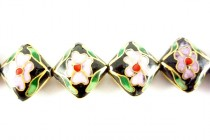 Cloisonne Diamond Beads, Black / multicolored , Flowers