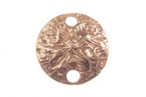 Copper over Brass 2 Hole Textured Circle Link -JBB Findings