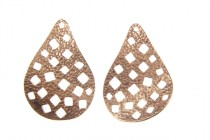 Copper over Brass Textured Teardrop -JBB Findings