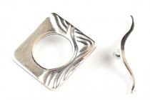 Sterling Silver Toggle Clasp - Wavy Square - JBB Findings