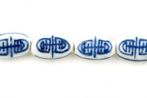 Blue Willow Style Porcelain Beads - Flat Oval