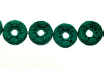 Dark Green Cinnabar (Imitation) Open Circle Beads with Carved Flowers
