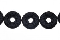 Black Cinnabar (Imitation) Carved Open Circle Beads - Small