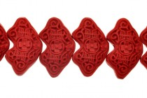 Red Cinnabar (Imitation) Abstract Shaped Beads with Intricate Carvings