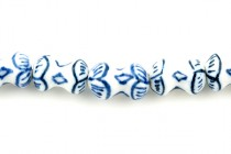 Blue Willow Style Porcelain Beads - Peanut Shaped