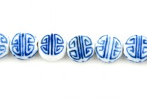 Blue Willow Style Coin Shaped Porcelain Beads with Swirl Design