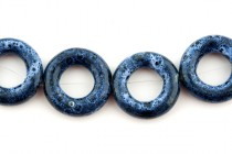 Blue Glazed Porcelain Beads - Open Circle Bead Frame