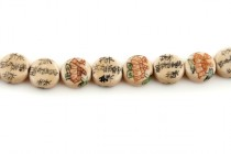 Ivory Porcelain Coin Beads with Flowers and Chinese Characters
