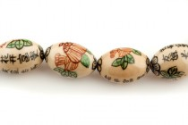 Ivory Porcelain Egg Shaped Beads with Flowers and Chinese Characters
