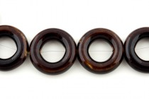 Brown Glazed Porcelain Beads - Larger Open Circle Bead Frame
