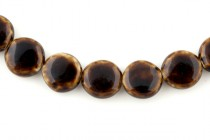 Brown Glazed Porcelain Beads - Flat Coin