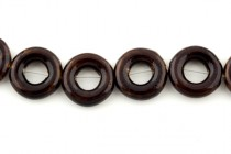 Brown Glazed Porcelain Beads - Open Circle Bead Frame