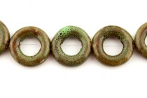Green & Brown Glazed Porcelain Beads - Open Circle Bead Frame