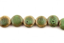 Green Glazed Porcelain Beads - Flat Coin