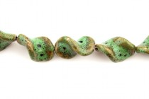 Green Porcelain Beads Twisted Rectangle