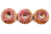 Pink Glazed Porcelain Donut Pendant Beads