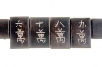 Bone Carved Bead, Mahjong Tile, Rectangle, 2 hole, Brown,8x28x10mm
