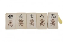 Beige Bone (Natural) Double Drilled Rectangle Carved Mahjong Tile Beads with Chinese Characters