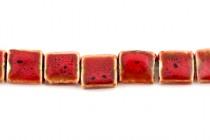 Red Glazed Porcelain Beads - Flat Square