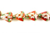 Cloisonne Triangle Beads, Red / Multicolored, Flowers