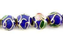 Cloisonne Round Beads,Cobalt Blue, Flowers