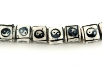 Black & White Yin Yang Cube Porcelain Beads