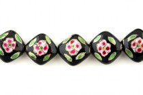 Black Floral Porcelain Beads - Diagonally Drilled Square