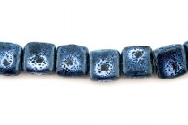 Blue Porcelain Beads Flat Square