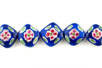 Cobalt Blue Floral Porcelain Beads - Diagonally Drilled Square