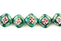 Green Floral Porcelain Beads with Gold Accents - Diagonally Drilled Square