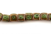 Green Glazed Porcelain Cube Beads