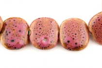 Pink Glazed Porcelain Beads - Flat Pillow