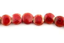 Red Glazed Porcelain Beads - Coin Shaped