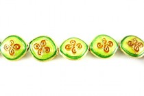 Enamel Lime Green & Orange Quatrefoil - Oval / Diamond Shape