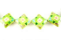 Enamel Lime Green Floral Beads - Diamond Shape