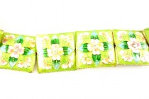 Enamel Lime Green Floral - Square