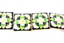 Enamel Black White Green Floral - Square
