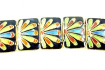Enamel Black Green & Orange Sunburst - Rectangle