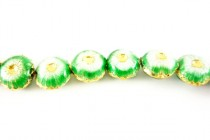 Enamel Green & White Floral Beads - Puffed Coin