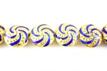 Enamel Cobalt Blue & Yellow Gold Spiral Beads - Puffed Coin
